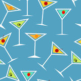 Seamless Background Pattern of  Alcoholic Cocktail Stock Image