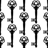 Seamless background pattern of antique keys Royalty Free Stock Photo