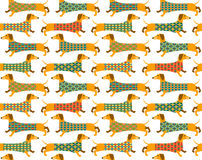 Seamless background pattern with a Basset Hound. Royalty Free Stock Images