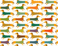 Seamless background pattern with a Basset Hound. Royalty Free Stock Image