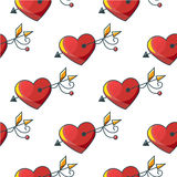 Seamless background pattern with beautiful red hearts pierced by Stock Photos