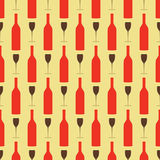Seamless background pattern with bottle and wineglass Royalty Free Stock Photography