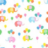 Seamless background, pattern with bright elephants and balloons on white background vector illustration