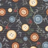 Watercolor background pattern with buttons and flowers