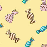 Seamless background pattern of candy. Royalty Free Stock Photo