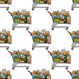 Seamless background pattern of a cart of groceries. Seamless background pattern of a trolley packed full of colorful of groceries in a repeat motif in square royalty free illustration