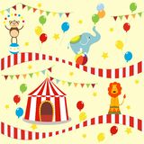 Seamless background, pattern, cartoon cute elephant, lion and monkey with circus tent. royalty free illustration