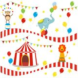 Seamless background, pattern, cartoon cute elephant, lion and monkey with circus tent. vector illustration