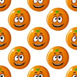 Seamless background pattern of cartoon oranges Stock Image