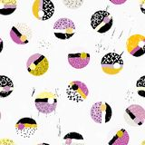Seamless background pattern, with circles/dots, with paint strok Stock Illustration
