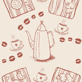 Seamless background pattern with coffee beans and Stock Photos