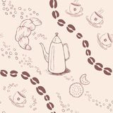 Seamless background pattern with coffee beans and Royalty Free Stock Photos