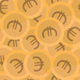 Seamless background pattern coins. Euro vector. Stock Photos