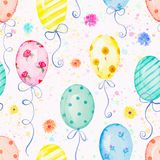 Watercolor seamless pattern with balloons and flowers. Seamless background pattern with colored balloons and flowers. Watercolor hand drawn illustration Royalty Free Stock Images