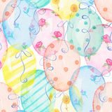 Watercolor seamless pattern with balloons. Seamless background pattern with colored balloons. Watercolor hand drawn illustration Royalty Free Stock Photos