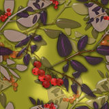 Seamless background pattern with colorful autumn leaves and rowa Stock Photography