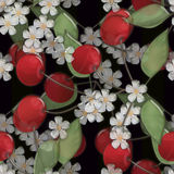 Seamless background pattern with colorful cherry and bloom on bl Royalty Free Stock Image