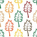 Seamless background pattern of colorful leaves. In an outline sketch design in multiple colors, square format suitable for fabric, wallpaper and wrapping paper Stock Photography