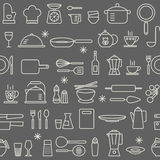 Seamless background pattern Cooking Kitchen utensil icons set Royalty Free Stock Photos