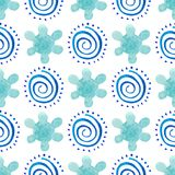 Seamless background pattern of delicate blue flower on a white background. Watercolor illustration.  Stock Photo