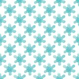 Seamless background pattern of delicate blue flower on a white background. Watercolor illustration.  Stock Photography
