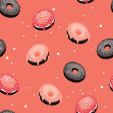 Seamless background pattern Delicious dessert Donuts with glaze and sprinkles Stock Images