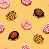 Seamless background pattern Delicious dessert Donuts with glaze and sprinkles Stock Photo