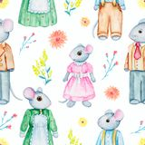 Watercolor seamless pattern with family of mice vector illustration