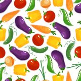 Seamless background pattern of fresh vegetables Stock Images