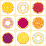 Seamless pattern with fruit pies and tarts Stock Photo