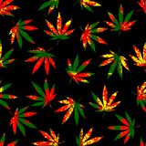 Rastafarian grunge hemp leaves. royalty free illustration