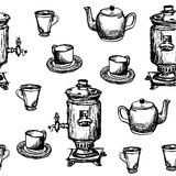 Seamless background pattern hand drawn samovar, teapot and cups graphic  illustration Stock Image