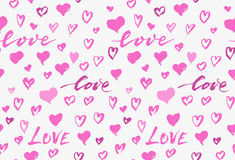 Seamless background pattern with hand drawn textured pink hearts Stock Images