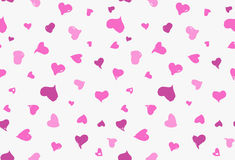 Seamless background pattern with hand drawn textured pink hearts Royalty Free Stock Image