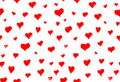 Seamless background pattern with hand drawn textured red hearts Stock Images