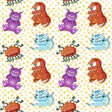 A seamless background pattern of happy, floating, cartoon, vector aliens vector illustration
