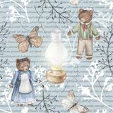 Watercolor background pattern with vintage subjects. Seamless background pattern with kerosene lamp, butterflies, twigs and bears. Watercolor hand drawn Stock Image