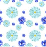 Seamless background pattern with light blue daisies chamomile and cornflowers flowers. Vector illustration. Vector seamless background with light blue daisies royalty free illustration