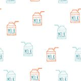 Seamless background pattern with milk carton Cute sketch style. Vector illustration Stock Photography
