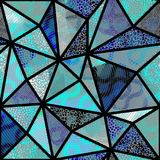 Seamless mosaic pattern. Seamless background pattern. Mosaic art pattern of triangles of different tile textures. Vector image Royalty Free Stock Photo