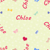 Seamless background pattern name Chloe of the newborn Stock Photography
