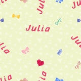 Seamless background pattern name Julia of the newborn. Name baby Julia. Seamless name Julia. Julia vector. Stock Photo
