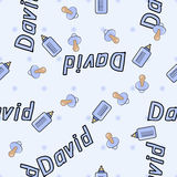 Seamless background pattern name of the newborn David Royalty Free Stock Photography