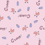Seamless background pattern name of the newborn Grace Stock Images