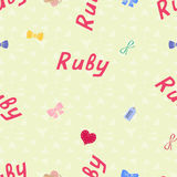 Seamless background pattern name Ruby of the newborn. Name baby Ruby. Seamless name Ruby. Ruby vector. Royalty Free Stock Photography