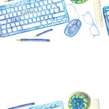 Seamless background pattern of objects painted watercolor office equipment Royalty Free Stock Photos