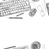 Seamless background pattern of objects painted watercolor office equipment, tools, worktable on a theme September 1, study, knowle Royalty Free Stock Image