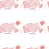 Seamless background pattern of objects painted watercolor office equipment Royalty Free Stock Photo