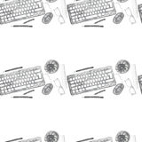 Seamless background pattern of objects painted watercolor office equipment Royalty Free Stock Images