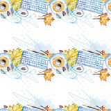 Seamless Background Pattern Of Objects Painted Watercolor Office Equipment Stock Photo